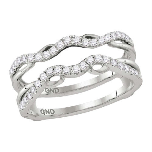 14kt White Gold Womens Round Diamond Ring Guard Wrap Solitaire Enhancer 1/3 Cttw - 115461-9