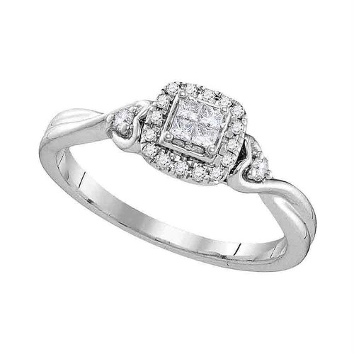 10kt White Gold Womens Princess Diamond Square Cluster Ring 1/5 Cttw