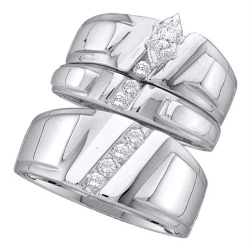 10k White Gold Marquise Diamond Solitaire Womens Mens Matching Trio Wedding Bridal Set 1/4 Cttw