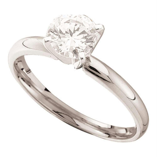 14kt White Gold Womens Round Diamond Solitaire Bridal Wedding Engagement Ring 7/8 Cttw - 50042-11