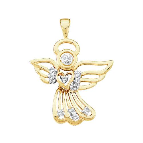 10kt Yellow Gold Womens Round Diamond Guardian Angel Pendant 1/10 Cttw