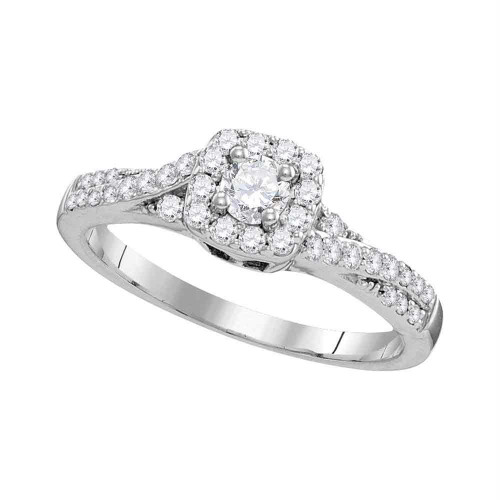 10kt White Gold Womens Round Diamond Solitaire Bridal Wedding Engagement Ring 1/2 Cttw - 109821-8