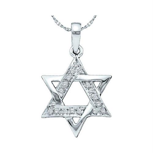 10kt White Gold Womens Round Diamond Star Magen David Jewish Pendant 1/10 Cttw