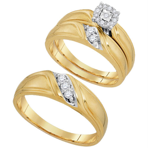 10kt Yellow Gold His & Hers Round Diamond Solitaire Matching Bridal Wedding Ring Band Set 1/4 Cttw - 93886-9.5
