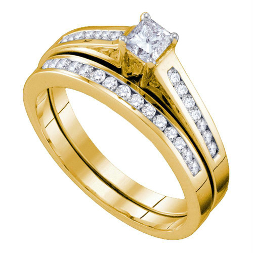 10kt Yellow Gold Womens Princess Diamond Bridal Wedding Engagement Ring Band Set 1/2 Cttw - 63924-5.5