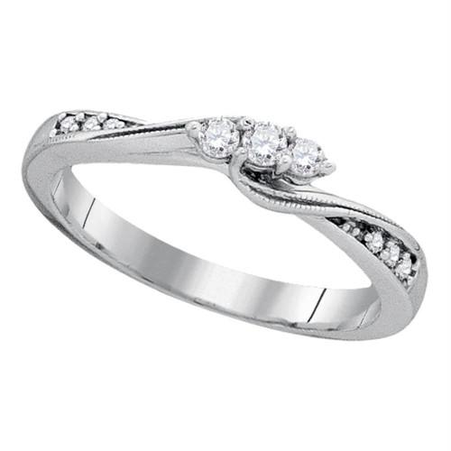 10kt White Gold Womens Round Diamond 3-stone Bridal Wedding Engagement Ring 1/6 Cttw