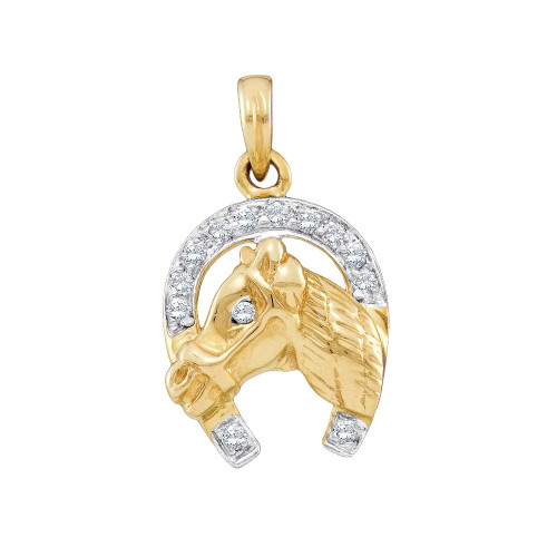 10kt Two-tone Gold Womens Round Diamond Lucky Horseshoe Charm Pendant 1/10 Cttw