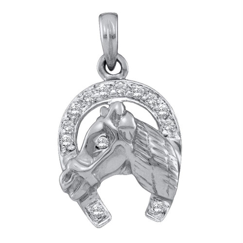 10kt White Gold Womens Round Diamond Lucky Horseshoe Charm Pendant 1/10 Cttw