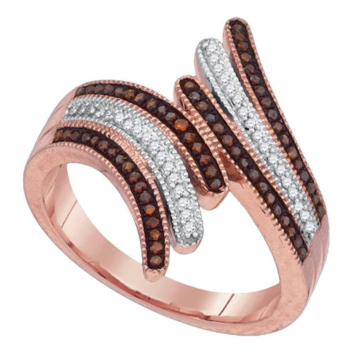 10kt Rose Gold Womens Round Red Color Enhanced Diamond Bypass Fashion Ring 1/4 Cttw