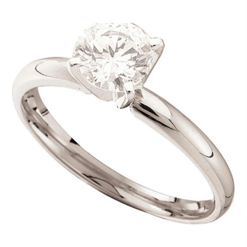 14kt White Gold Womens Round Diamond Solitaire Bridal Wedding Engagement Ring 3/4 Cttw - 11891-9