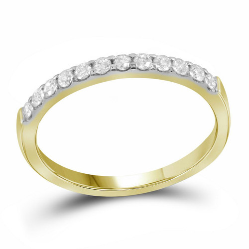 14kt Yellow Gold Womens Round Pave-set Diamond Single Row Wedding Band 1/4 Cttw - 99846-5.5