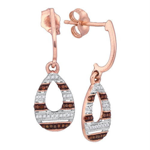 10kt Rose Gold Womens Round Red Color Enhanced Diamond Teardrop Dangle Earrings 1/5 Cttw - 88436