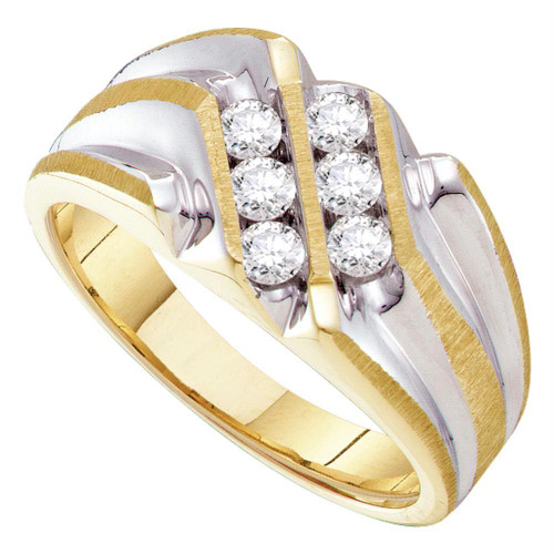 10kt Yellow Gold Mens Round Diamond Double Row Two-tone Ridged Band Ring 1/2 Cttw