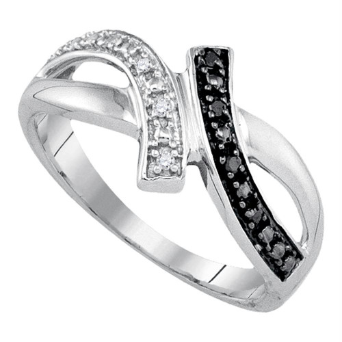 Sterling Silver Womens Round Black Color Enhanced Diamond Bypass Crossover Band Ring 1/20 Cttw