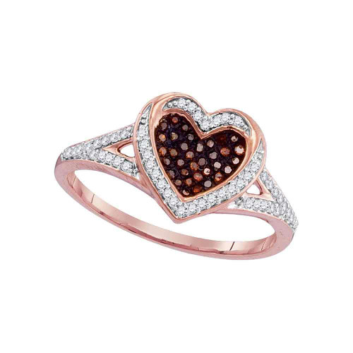 10kt Rose Gold Womens Round Red Color Enhanced Diamond Heart Love Ring 1/5 Cttw - 97917-11