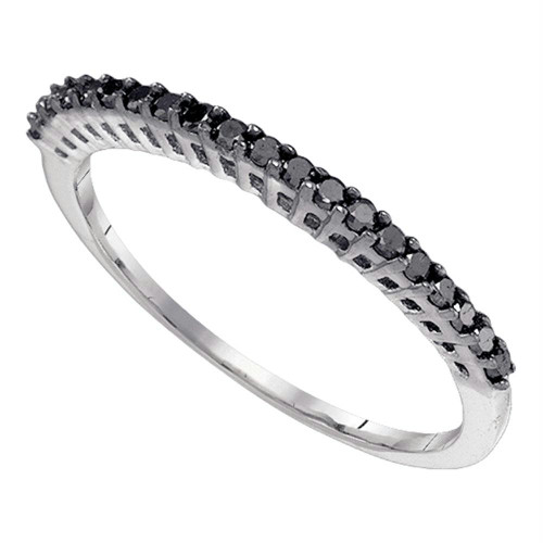 10k White Gold Black Color Enhanced Diamond Slender Slim Thin Womens Anniversary Wedding Band 1/4 Cttw