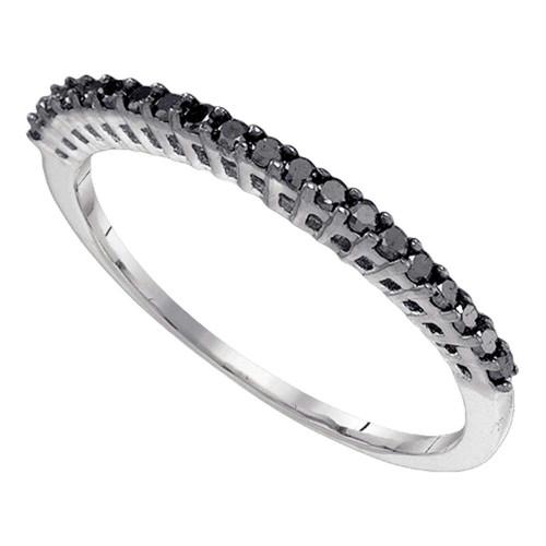 10k White Gold Black Color Enhanced Diamond Slender Slim Thin Womens Anniversary Wedding Band 1/4 Cttw