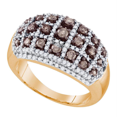 10kt Rose Gold Womens Round Brown Color Enhanced Diamond Fashion Ring 1.00 Cttw