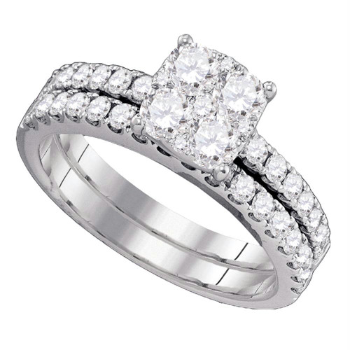 18kt White Gold Womens Round Diamond Bridal Wedding Engagement Ring Band Set 1-3/8 Cttw