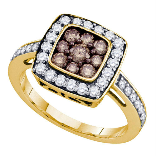 10k Yellow Gold Womens Cognac-brown Color Enhanced Diamond Square Cluster Ring 1.00 Cttw