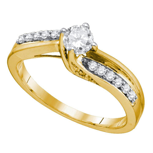14kt Yellow Gold Womens Round Diamond Solitaire Bridal Wedding Engagement Ring 1/2 Cttw - 74741-8.5