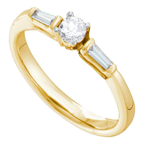 14kt Yellow Gold Womens Round Diamond Solitaire Bridal Wedding Engagement Ring 1/4 Cttw - 67548-5.5