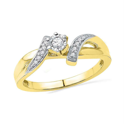 10kt Yellow Gold Womens Round Diamond Solitaire Promise Bridal Ring 1/10 Cttw - 100231-8.5