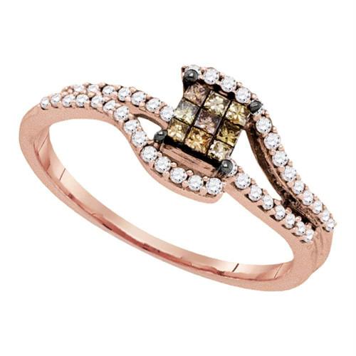 10kt Rose Gold Womens Princess Brown Color Enhanced Diamond Fashion Ring 1/3 Cttw