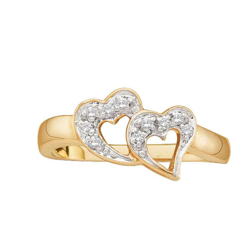 10kt Yellow Gold Womens Round Diamond Double Heart Love Ring 1/12 Cttw - 15349-10.5