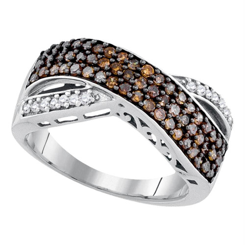 10kt White Gold Womens Round Cognac-brown Color Enhanced Diamond Crossover Band Ring 3/4 Cttw - 90446-7.5