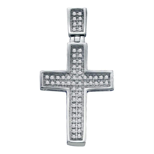 10kt White Gold Mens Round Diamond Small Christian Cross Charm Pendant 1/6 Cttw