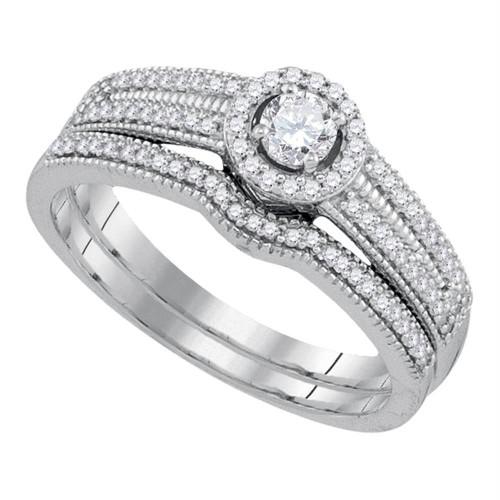 10k White Gold Womens Round Diamond Bridal Wedding Engagement Ring Band Set 3/8 Cttw - 92162-9