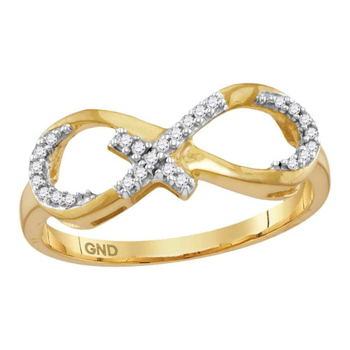10kt Yellow Gold Womens Round Diamond Infinity Cross Band Ring 1/10 Cttw