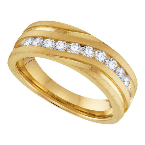 10k Yellow Gold Mens Round Diamond Channel-set Wedding Anniversary Band 1/4 Cttw