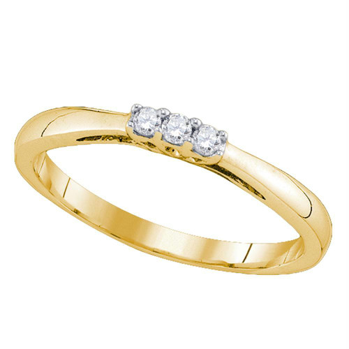 10kt Yellow Gold Womens Round Diamond 3-stone Bridal Wedding Engagement Ring 1/12 Cttw