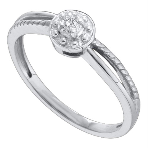 10kt White Gold Womens Round Diamond Solitaire Promise Bridal Ring 1/20 Cttw - 48748-10