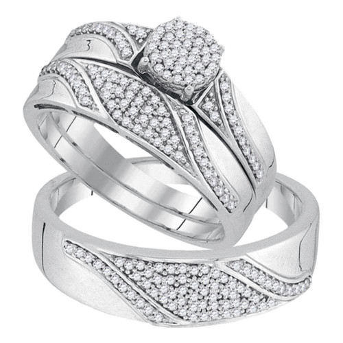 10kt White Gold His & Hers Round Diamond Cluster Matching Bridal Wedding Ring Band Set 1/2 Cttw - 92065-10.5