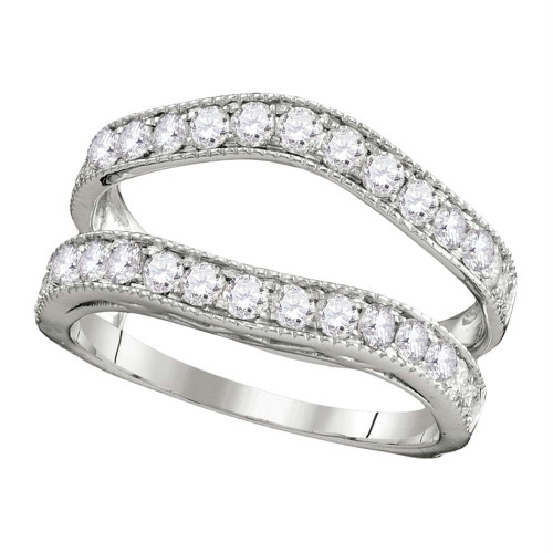 14kt White Gold Womens Round Diamond Ring Guard Wrap Solitaire Enhancer 1.00 Cttw - 111254-9