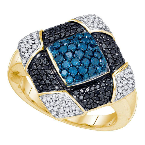 10kt Yellow Gold Womens Round Blue Black Color Enhanced Diamond Square Cluster Ring 7/8 Cttw