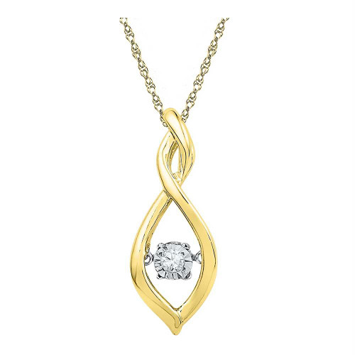 10kt Yellow Gold Womens Round Diamond Moving Twinkle Solitaire Pendant .03 Cttw