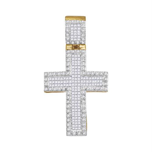 10kt Yellow Gold Mens Round Princess Diamond Raised Edge Cross Charm Pendant 1.00 Cttw