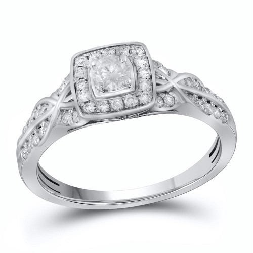 14kt White Gold Womens Round Diamond Solitaire Bridal Wedding Engagement Ring 1/2 Cttw - 111741-6