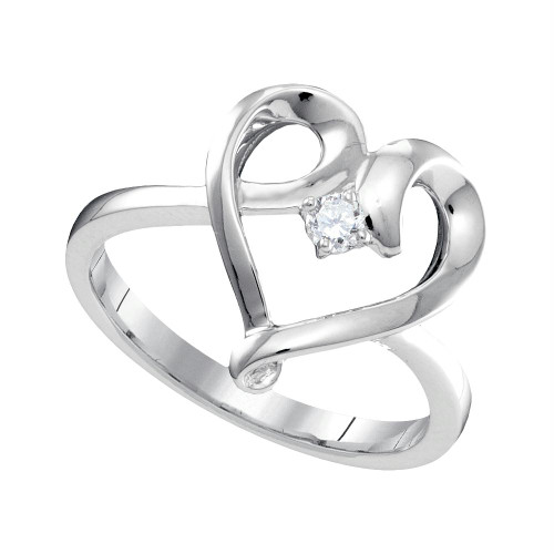 10kt White Gold Womens Round Diamond Heart Love Promise Bridal Ring 1/20 Cttw - 96339-10