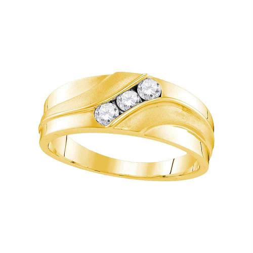 10kt Yellow Gold Mens Round Diamond Wedding Band Ring 1/3 Cttw - 107450-8.5