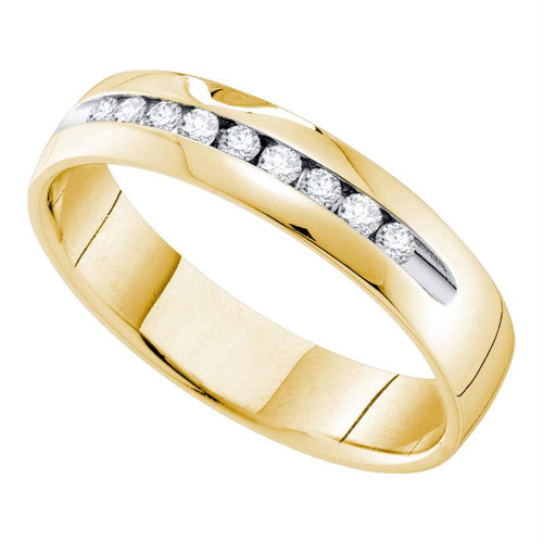 14kt Yellow Gold Mens Round Channel-set Diamond Single Row Wedding Band Ring 1/2 Cttw - 55318-10
