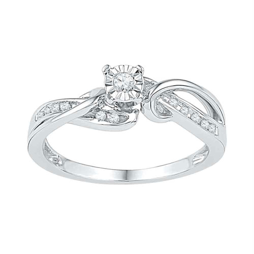 10kt White Gold Womens Round Diamond Solitaire Bridal Wedding Engagement Ring 1/8 Cttw - 108645-5