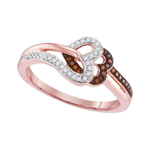 10kt Rose Gold Womens Round Red Color Enhanced Diamond Heart Love Ring 1/6 Cttw - 99262-7