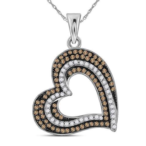 10kt White Gold Womens Round Brown Color Enhanced Diamond Heart Pendant 3/8 Cttw