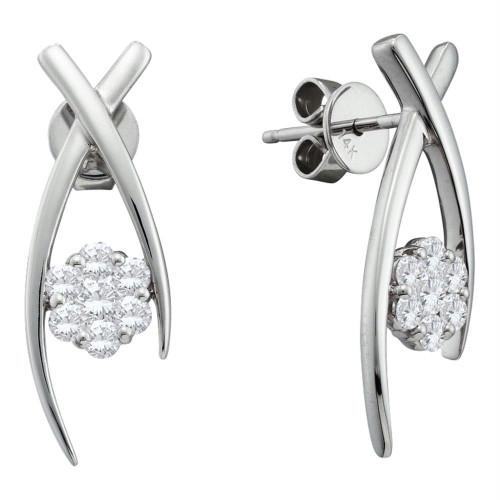 14kt White Gold Womens Round Diamond Flower Cluster Screwback Stud Earrings 1/2 Cttw