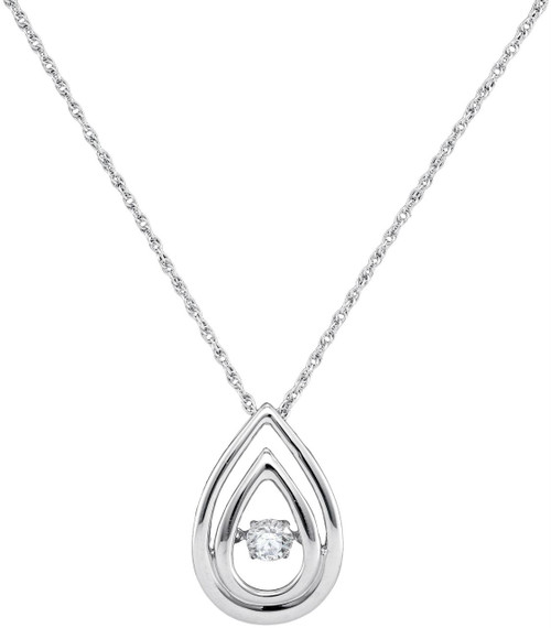 10kt White Gold Womens Round Diamond Moving Twinkle Solitaire Teardrop Pendant 1/6 Cttw
